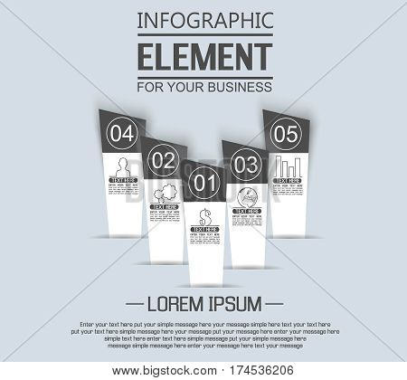 ELEMENT FOR INFOGRAPHIC TEMPLATE GEOMETRIC FIGURE STIKER NUMBER OPTION TO SCALE EDITION BLACK