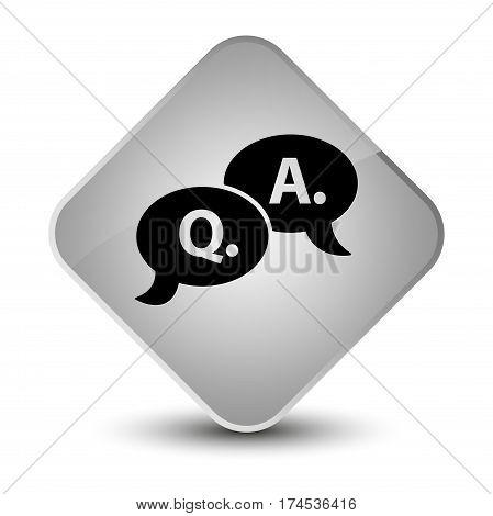 Question Answer Bubble Icon Elegant White Diamond Button