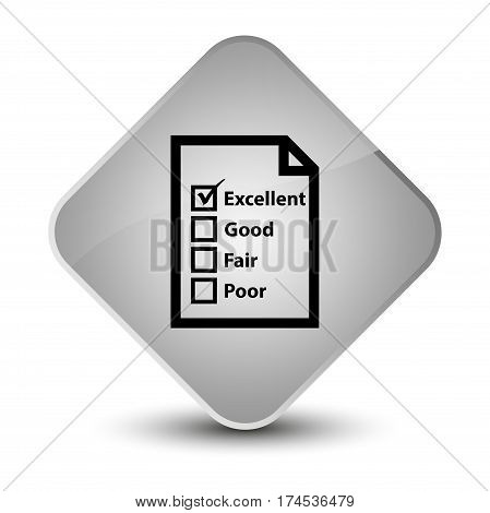 Questionnaire Icon Elegant White Diamond Button