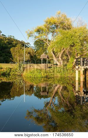 Wishing well under tree by waters edge reflected in calm blue water and morning light Kerikeri New Zealand.