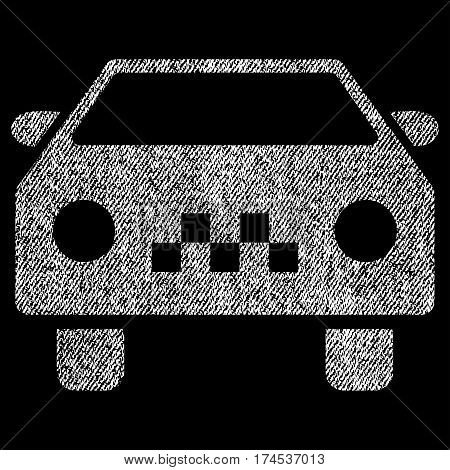 Taxi Car vector textured icon for overlay watermark stamps. Fabric white vectorized texture. Symbol with scratched design. Rubber seal stamp with fiber textile structure.