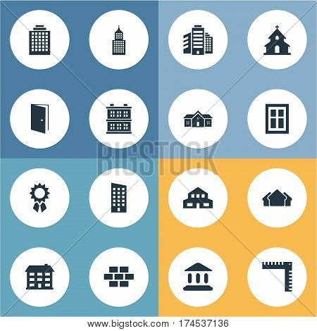Set Of 16 Simple Architecture Icons. Can Be Found Such Elements As Popish, Residential, Booth And Other.