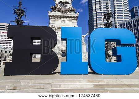 Indianapolis - Circa March 2017: Big Ten Conference logo also stylized as the Big 10 or B1G in Downtown Indianapolis IV