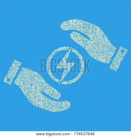 Electric Energy Insurance Hands vector textured icon for overlay watermark stamps. Fabric white vectorized texture. Symbol with scratched design. Rubber seal stamp with fiber textile structure.