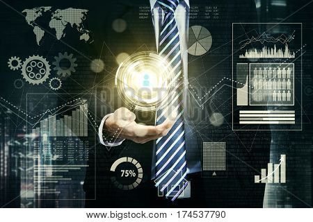 Close up of business person showing a network button on his palm with virtual financial graphs