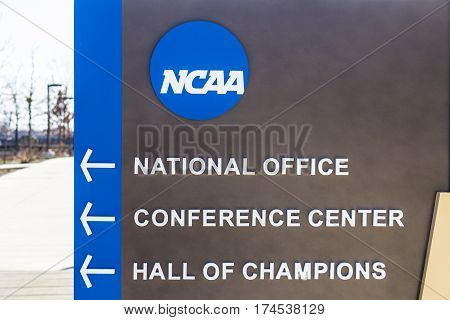 Indianapolis - Circa March 2017: National Collegiate Athletic Association Headquarters. The NCAA regulates athletic programs of many colleges and universities VI