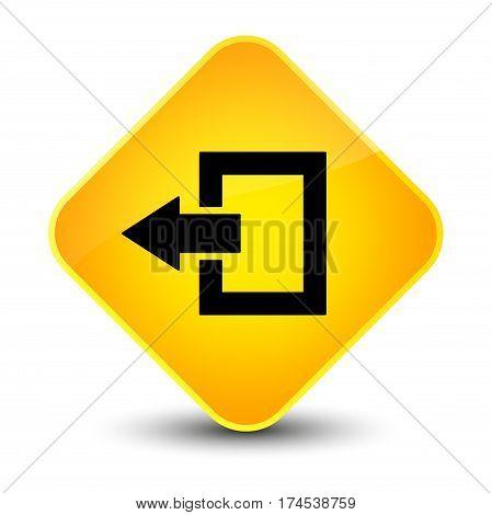 Logout Icon Elegant Yellow Diamond Button