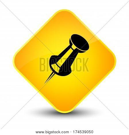 Push Pin Icon Elegant Yellow Diamond Button