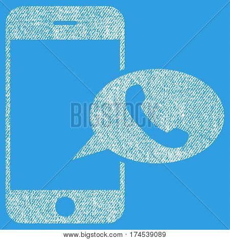 Smartphone Call Balloon vector textured icon for overlay watermark stamps. Fabric white vectorized texture. Symbol with dirty design. Rubber seal stamp with fiber textile structure.