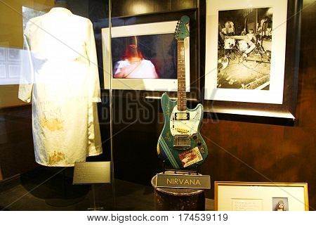 LAS VEGAS,USA - Hard Rock Hotel, as seen on Oct 09:2016, in Las Vegas. NIRVANA used costume and guitar on display Set.