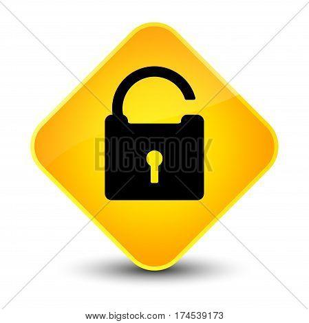 Unlock Icon Elegant Yellow Diamond Button