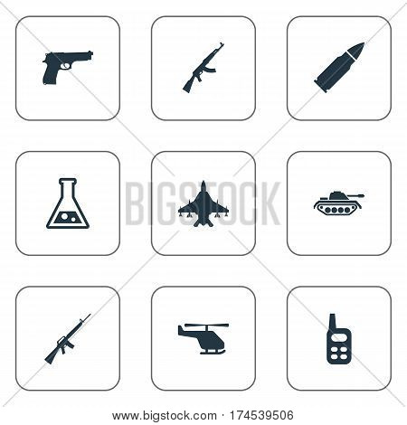 Set Of 9 Simple Army Icons. Can Be Found Such Elements As Ammunition, Kalashnikov, Walkies And Other.