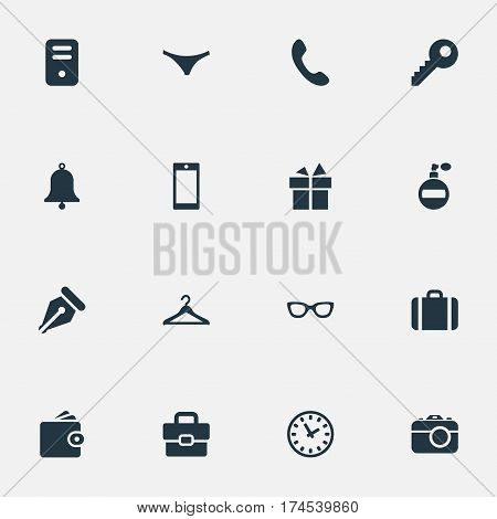 Set Of 16 Simple Instrument Icons. Can Be Found Such Elements As Billfold, Briefcase, Ring And Other.