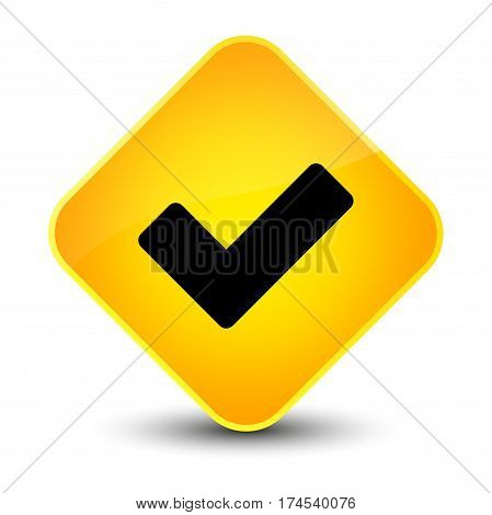 Validate Icon Elegant Yellow Diamond Button
