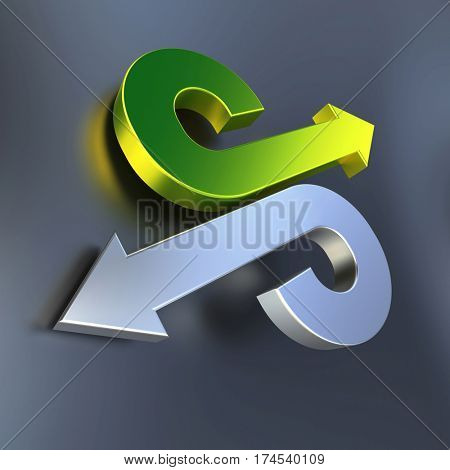 3D rendering of Green and chrome arrows pointing in opposite directions