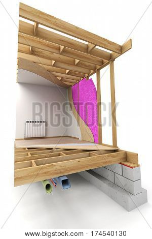 3D rendering Architecture rendering of a home interior showing tubing, isolation, structure, etc..