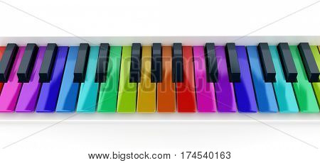 3D rendering of a multicolored piano keyboard