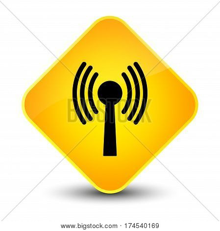 Wlan Network Icon Elegant Yellow Diamond Button