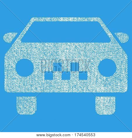 Taxi Car vector textured icon for overlay watermark stamps. Fabric white vectorized texture. Symbol with unclean design. Rubber seal stamp with fiber textile structure.