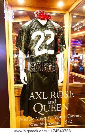 LAS VEGAS,USA - Hard Rock Hotel, as seen on Oct 09:2016, in Las Vegas. AXL ROSE used costume on display Set.