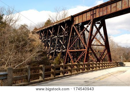 Old Train Trestle Crossing over Highway in Arkansas