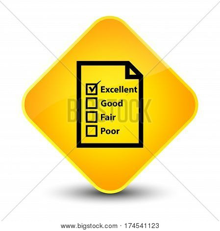 Questionnaire Icon Elegant Yellow Diamond Button