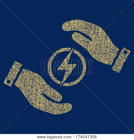 Electric Energy Insurance Hands vector textured icon for overlay watermark stamps. Fabric yellow vectorized texture. Symbol with dirty design. Rubber seal stamp with fiber textile structure.