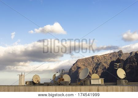 Acantilados de los Gigantes roof satellites in the morning light Tenerife