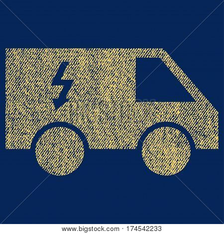 Electrical Car vector textured icon for overlay watermark stamps. Fabric yellow vectorized texture. Symbol with unclean design. Rubber seal stamp with fiber textile structure.