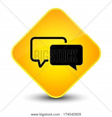 Testimonials Icon Elegant Yellow Diamond Button