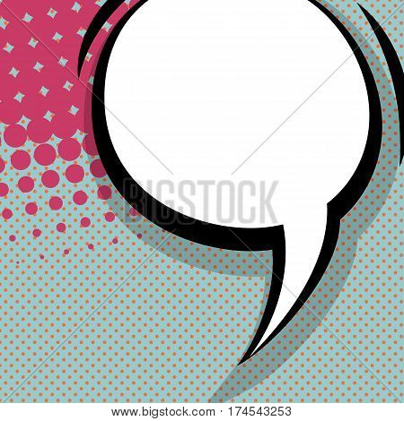 Abstract creative hand drawn vector colored blank bubble. Comic book text dialog empty cloud. For sale banner. Comic speech balloon on halftone dot background pop art style.
