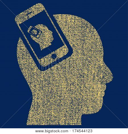 Smartphone Head Plugin Recursion vector textured icon for overlay watermark stamps. Fabric yellow vectorized texture. Symbol with dust design. Rubber seal stamp with fiber textile structure.