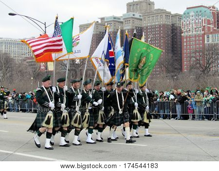 Flag Bearers Marching in Chicago Saint Patrick's Day Parade March 12th, 2011