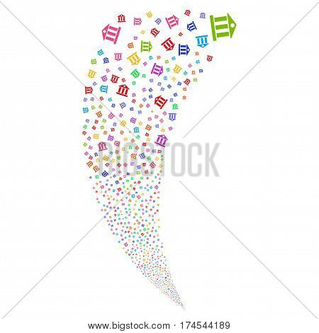 Bank Building random fireworks stream. Vector illustration style is flat bright multicolored iconic symbols on a white background. Object fountain combined from scattered icons.