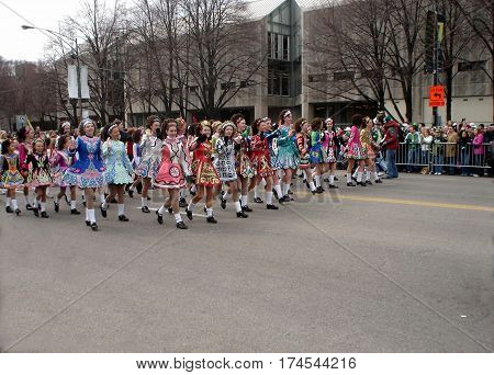 Irish Dancers in the Chicago Saint Patricks Day Parade March 15, 2008