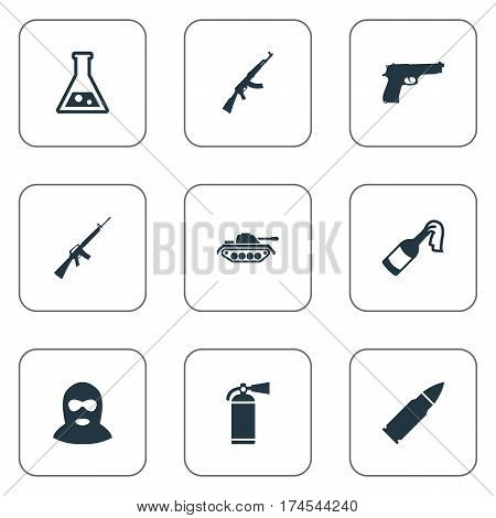 Set Of 9 Simple Military Icons. Can Be Found Such Elements As Pistol, Kalashnikov, Rifle Gun And Other.