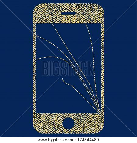 Smartphone Screen Cracks vector textured icon for overlay watermark stamps. Fabric yellow vectorized texture. Symbol with unclean design. Rubber seal stamp with fiber textile structure.