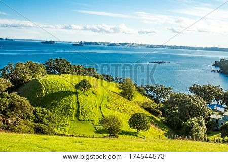 coastline with sand beach and rocks, sea background, new zealand nature