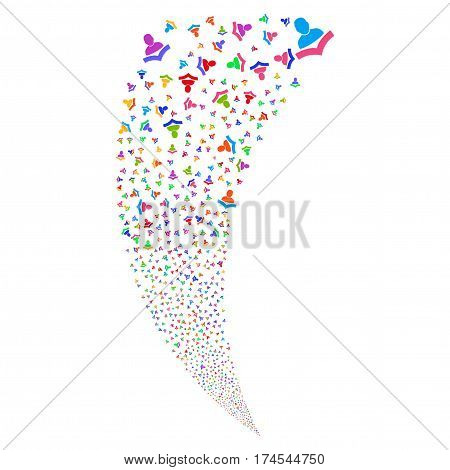 Book Reader random fireworks stream. Vector illustration style is flat bright multicolored iconic symbols on a white background. Object fountain made from scattered icons.