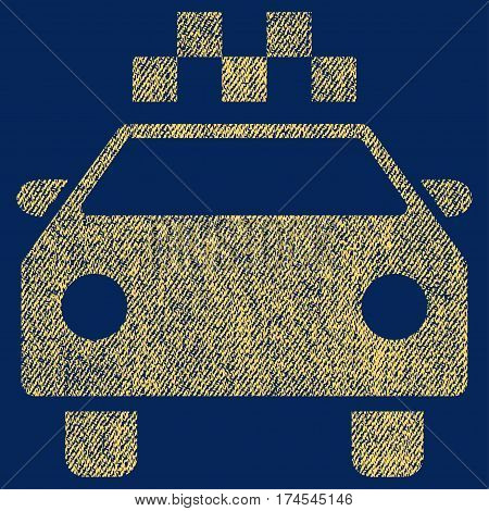Taxi Automobile vector textured icon for overlay watermark stamps. Fabric yellow vectorized texture. Symbol with unclean design. Rubber seal stamp with fiber textile structure.