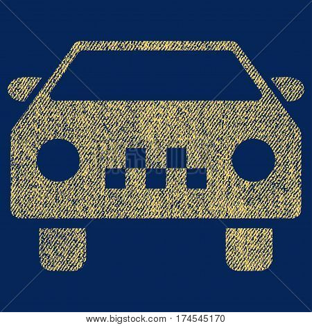 Taxi Car vector textured icon for overlay watermark stamps. Fabric yellow vectorized texture. Symbol with dust design. Rubber seal stamp with fiber textile structure.