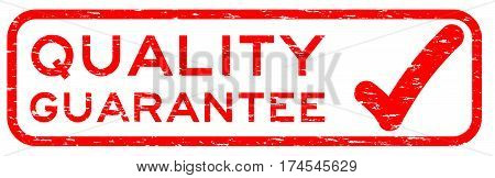 Grunge red quality guarantee with mark square rubber seal stamp