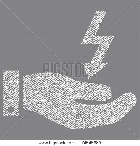 Electric Energy Service Hand vector textured icon for overlay watermark stamps. Fabric white vectorized texture. Symbol with scratched design. Rubber seal stamp with fiber textile structure.