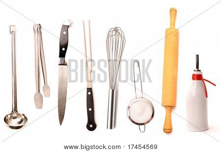 Set of high quality kitchen utensils isolated on white