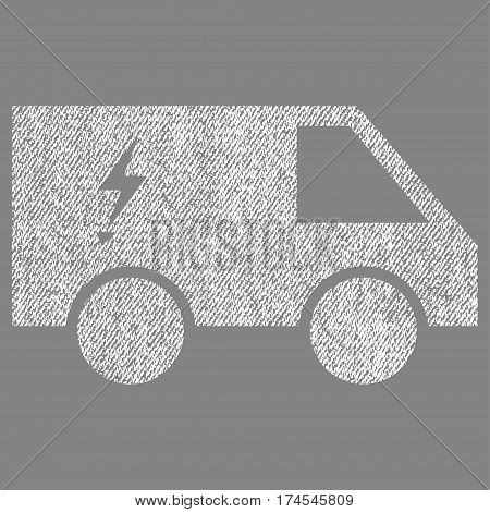 Electric Power Car vector textured icon for overlay watermark stamps. Fabric white vectorized texture. Symbol with unclean design. Rubber seal stamp with fiber textile structure.