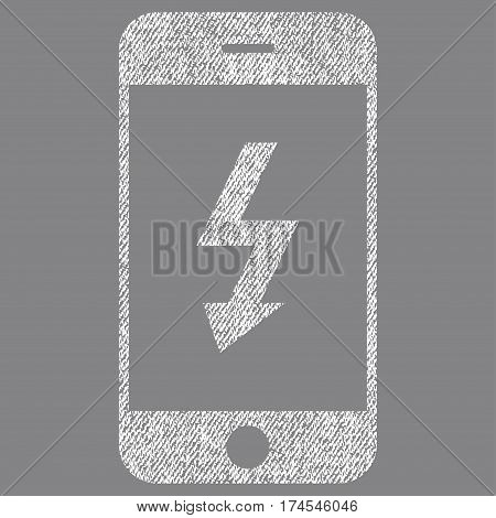 Electric Smartphone vector textured icon for overlay watermark stamps. Fabric white vectorized texture. Symbol with unclean design. Rubber seal stamp with fiber textile structure.
