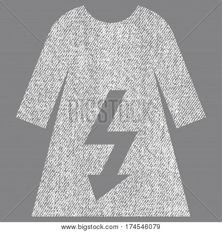 Electric Woman Dress vector textured icon for overlay watermark stamps. Fabric white vectorized texture. Symbol with dirty design. Rubber seal stamp with fiber textile structure.