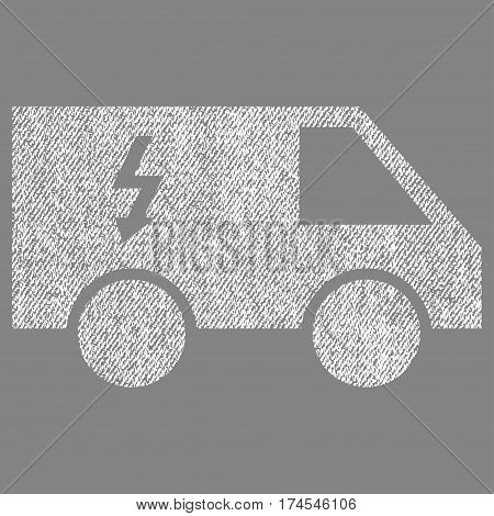 Electrical Car vector textured icon for overlay watermark stamps. Fabric white vectorized texture. Symbol with scratched design. Rubber seal stamp with fiber textile structure.