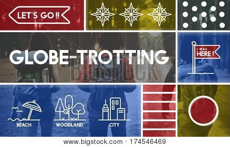 Globe trotting travel outdoors graphic