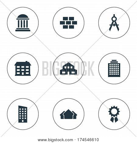 Set Of 9 Simple Architecture Icons. Can Be Found Such Elements As Residential, Stone, Shelter And Other.